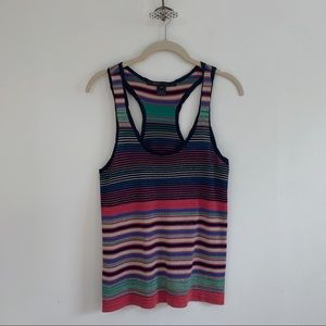 Marc Jacobs Rainbow Glimmer Knit Striped Tank Top